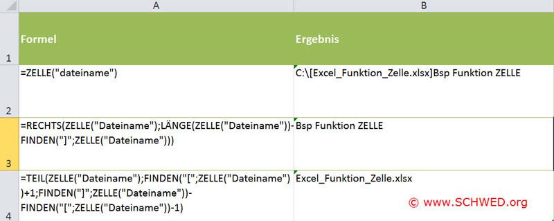 Excel Dateiname auslesen Übersicht