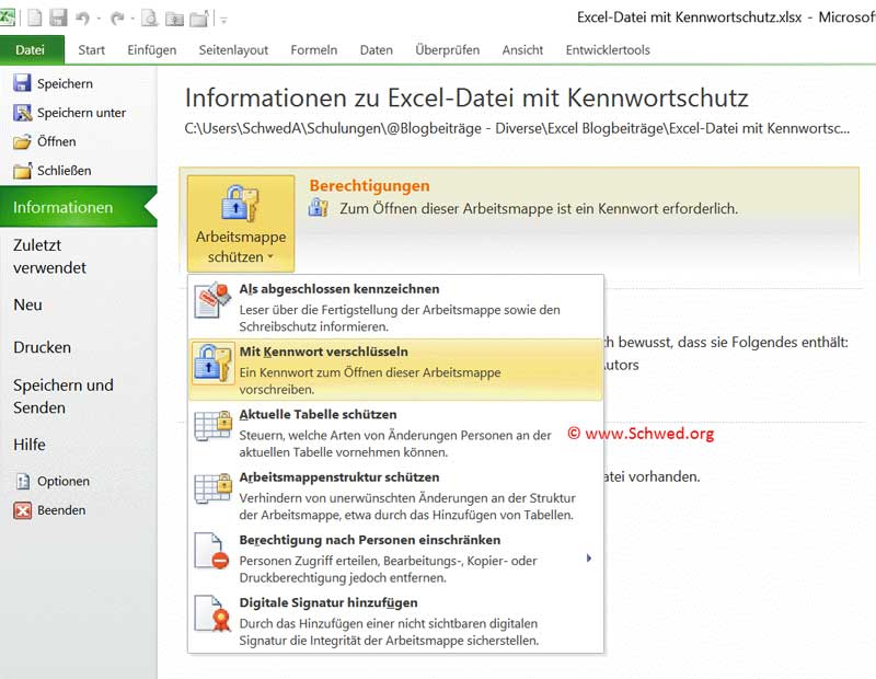 Excel Schreibschutz aufheben