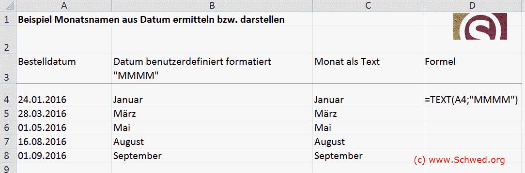Monatname aus Datum als Text