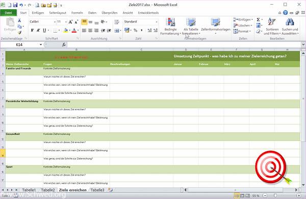 Zielplanung mit Excel